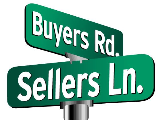 Buyers and Sellers lane road sign